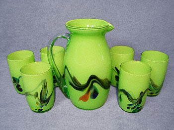 EXQUISITE CZECH CASED GLASS PITCHER AND GLASSES SET