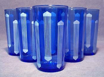 SIX BLUE & WHITE JUICE GLASSES